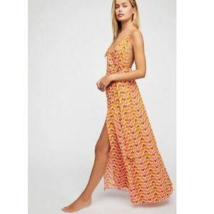 Free people xs siren maxi wrap dress printed